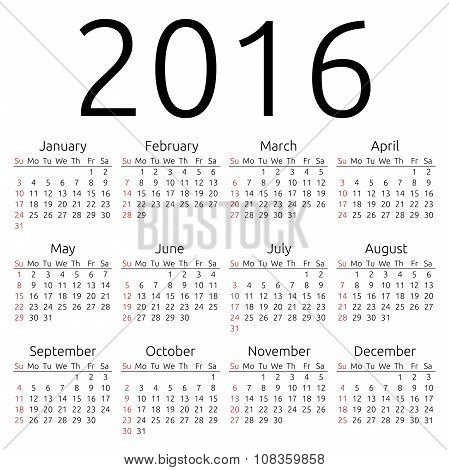 Vector Calendar 2016, Sunday