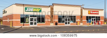 Subway Restaurant And The Source Storefront