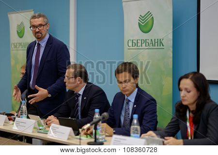 ST. PETERSBURG, RUSSIA - OCTOBER 21, 2015:  Director of St. Petersburg Campus of Higher School of Economics Sergey Kadochnikov during the meeting with head of North-West bank