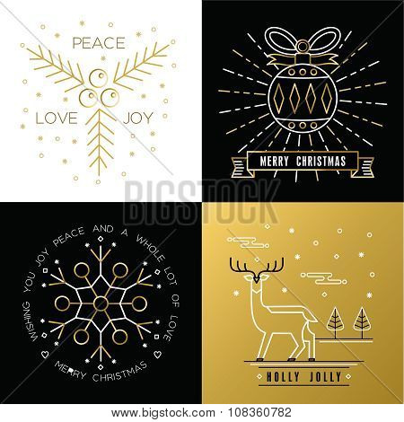 Merry Christmas Outline Gold Set Bauble Deer Holly