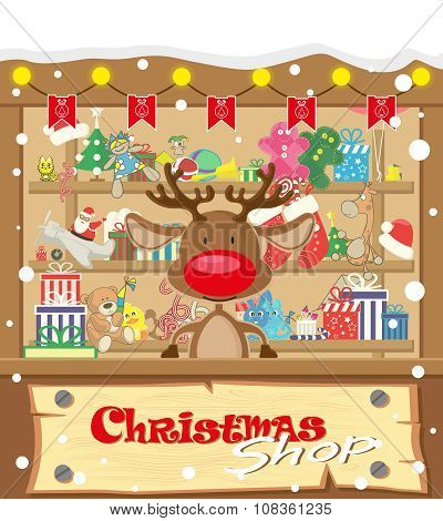 Vector Banner Christmas Shop Wih Deer And Gifts, Toys, Dolls, Present Box And Lamp Garlands With Fla