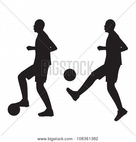 Black Silhouette Of Football Player With The Ball. Soccer.