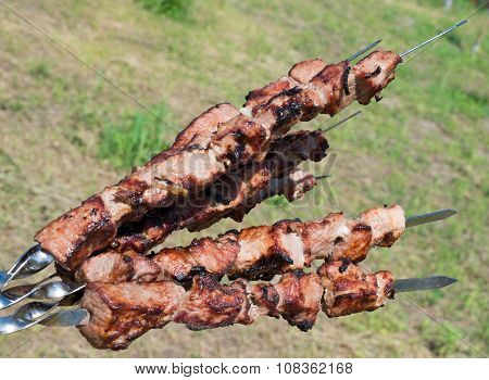 Grilling a delicious shashlik from marinated meat