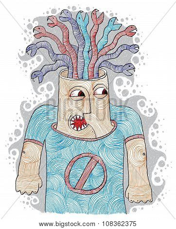 Poisoned Thoughts Concept Illustration. Angry Person Metaphor, Negative Facial Expressions.