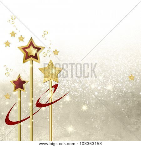 Stars background light beige with gold magic wands