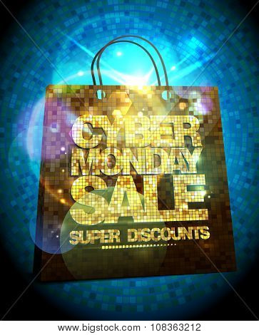 Syber monday sale design with gold crystal shopping bag, glare vector clearance poster.