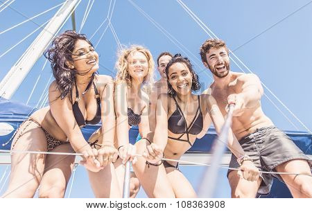 Group Of Friends Taking Selfie From The Boat