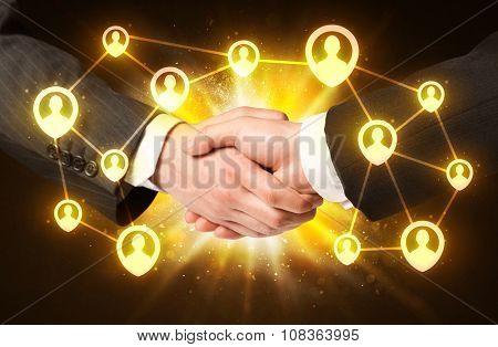 Business handshake, Social media concept