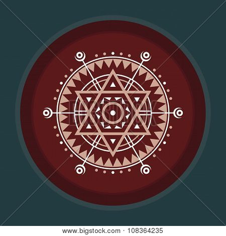 Sacred geometry sign. Abstract vector pattern. Mystic vector badge. Design element.