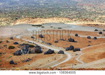 Volcanic Bombs On Montana Blanca, Teide National Park, Tenerife, Canary Islands, Spain