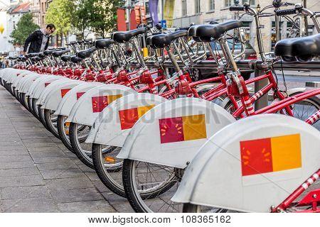 ANTWERP, BELGIUM - OCTOBER 31, 2013: Rent bicycle point in Antwerp