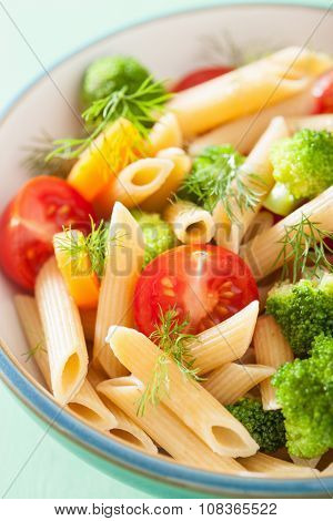 veggie penne pasta with broccoli tomato carrot