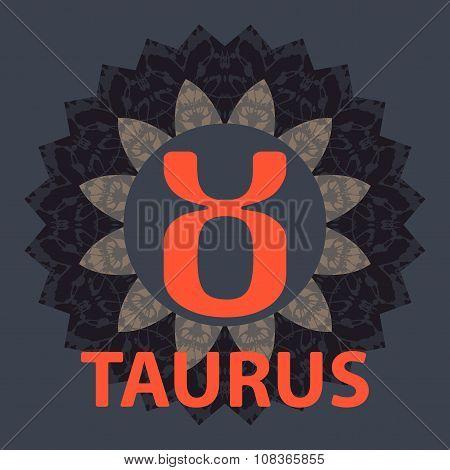 Taurus. Zodiac icon with mandala print. Vector icon.