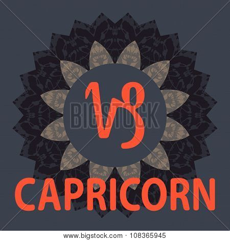 Capricorn. Goat. Zodiac icon with mandala print. Vector icon.