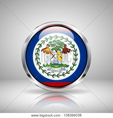 Flag Of Belize In Chrome