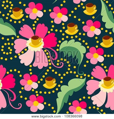 Cute Seamless Pattern Of Pink Flowers With Yellow Cups Of Tea Or Coffee.