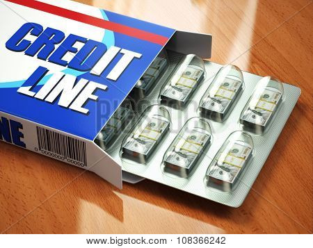 Credit line concept Pack of dollars as pills in blister pack. 3d
