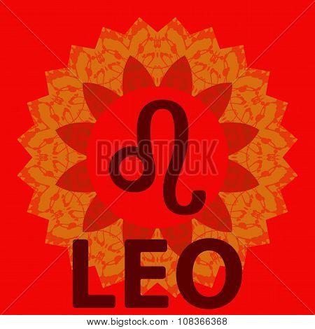 Leo. Lion. Zodiac icon with mandala print. Vector icon.
