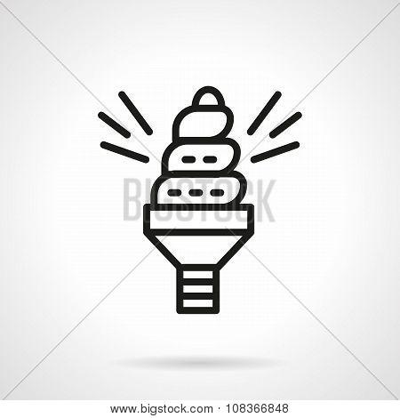 Spiral saving bulb black line vector icon