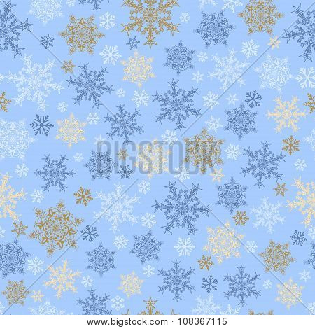 Seamless Pattern Of Snowflakes, Multicolored On Light Blue