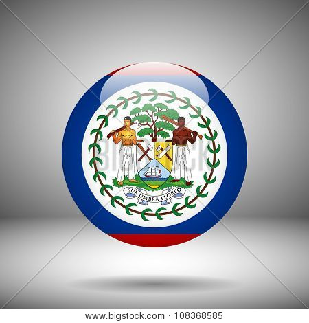 Round Flag Of Belize On A Gray Background