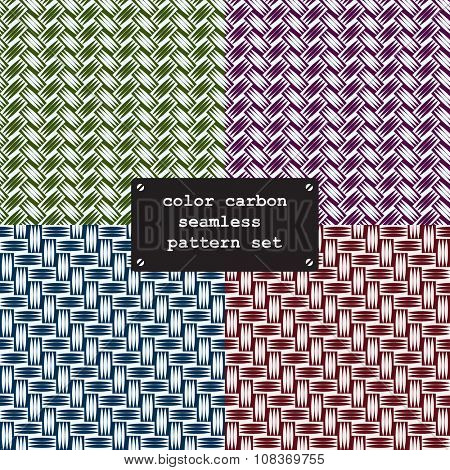 Color carbon fiber weave seamless texture pattern. vector background