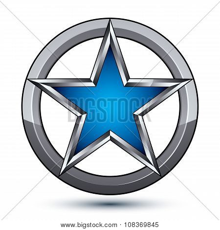 Branded Silvery Rounded Geometric Symbol, Stylized Pentagonal Blue Star Placed In A Silver Ring, Bes
