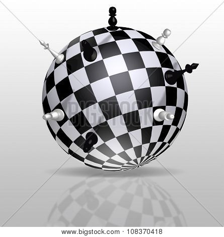 Planet Earth In The Form Of A Chessboard With Distant Figures