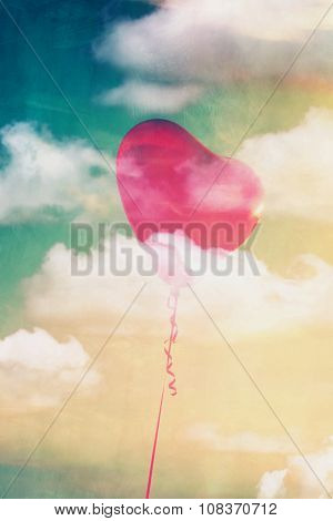 heart shape balloon with sky and clouds, texture added