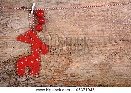 Hanging Red Christmas Deer
