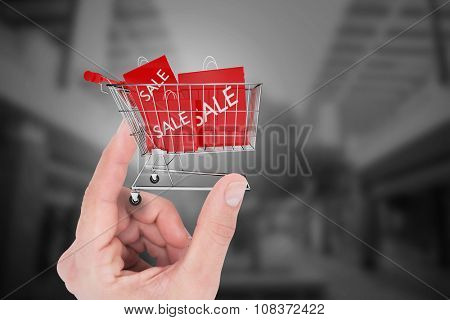 Hand showing house against trolley with sale shopping bags