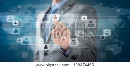 Businessman choosing the right person pointing with finger in people icon. Elements of this image are furnished by NASA
