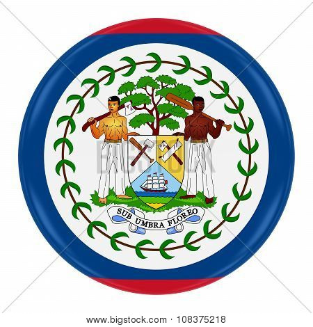 Belizean Flag Badge - Flag Of Belize Button Isolated On White