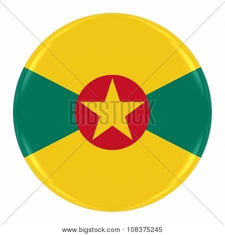 Grenadian Flag Badge - Flag Of Grenada Button Isolated On White