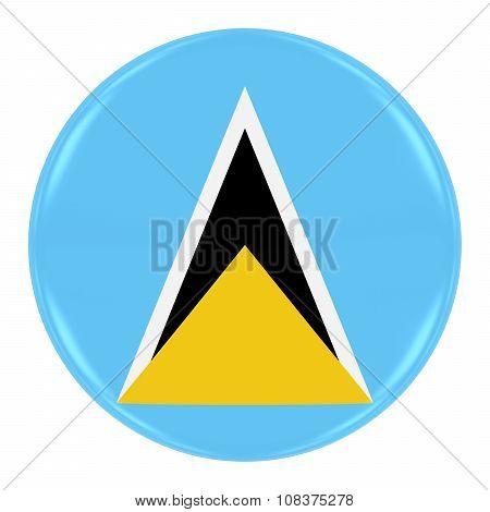 Saint Lucian Flag Badge - Flag Of Saint Lucia Button Isolated On White