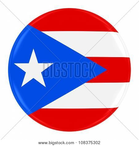 Puerto Rican Flag Badge - Flag Of Puerto Rico Button Isolated On White