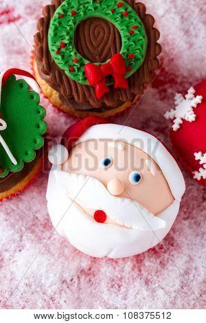 festive Christmas mini desserts with Christmas decorative elements