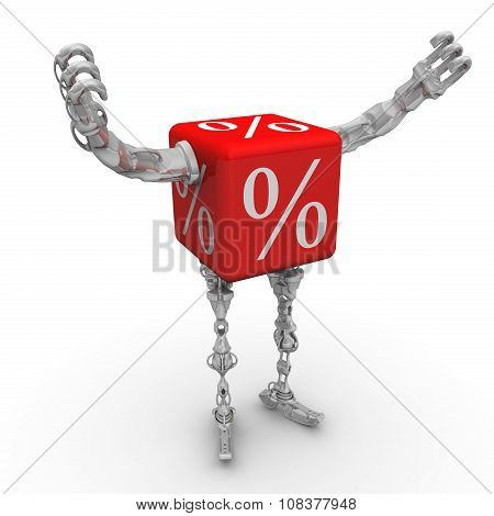Cube with percent symbol in the form of a robot