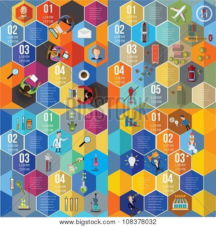 Infographic Elements set - Top View on Hexagons with People and icons.  Vector illustration.