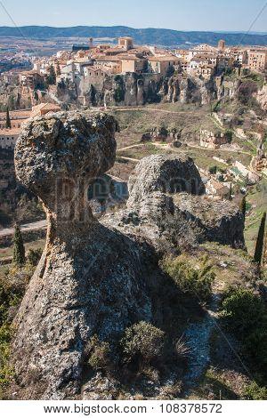 Unique Rock Formations In  City Of Cuenca, Castilla La Mancha, Spain