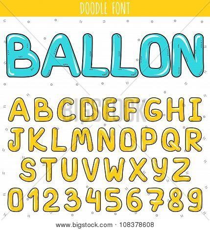 Ballon font. Set volume letters, numbers in doodle