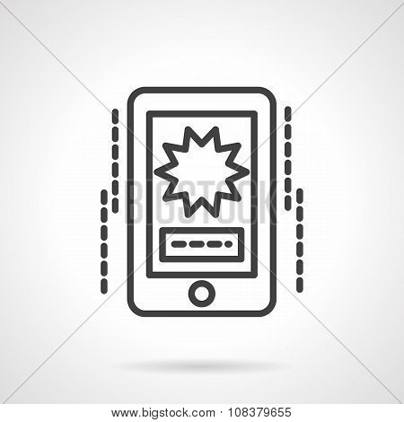 Phone video black line vector icon