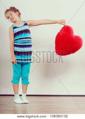Funny Little Girl Kid With Red Heart Shape Pillow.