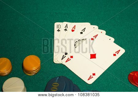 5 card draw, poker, four aces
