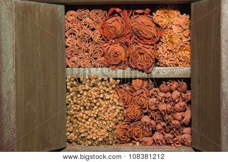 Dried flowers piled