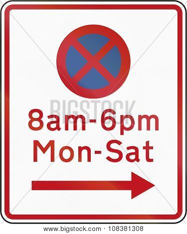 New Zealand Road Sign Rp-2 - No Stopping At Th Etimes And In The Direction Prescribed