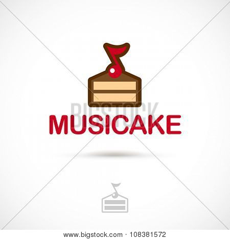 Vector logo design, piece of cake with the note symbol icon. Logotype template.