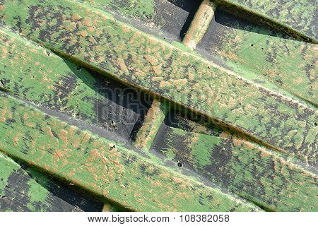 Green Metal Texture With Patches Of Rust Steel On Its Surface, Taken Outdoor