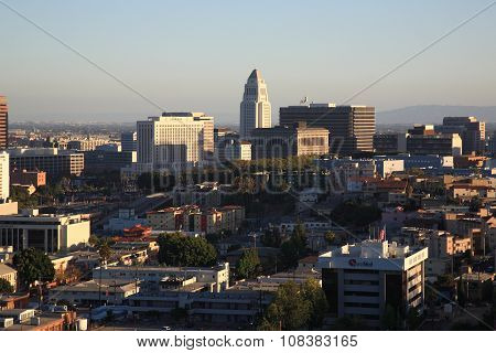 Los Angeles Skyline And City Hall