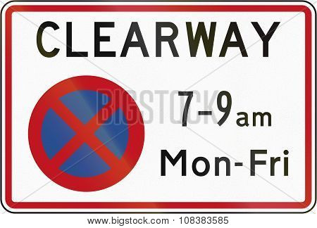 New Zealand Road Sign Rp-3 - Clearway (no Stopping) During Time Prescribed (single Peak Time)